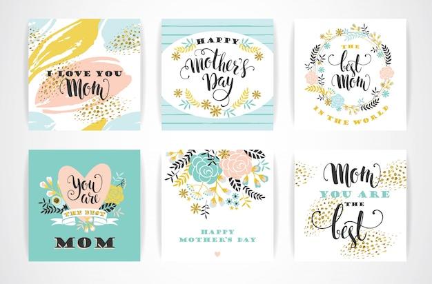 Cartões de felicitações felizes do dia das mães com flores Vetor Premium
