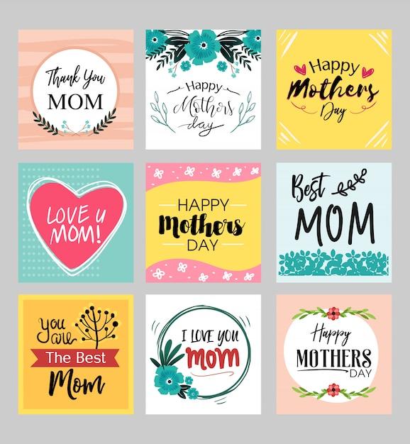 Cartões de feliz dia das mães conjunto com detalhe de flor fofo e cor pastel Vetor Premium