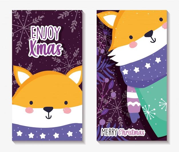 Cartões de feliz natal com raposa com cachecol e blusa Vetor Premium