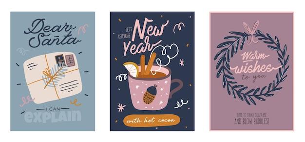 Cartões de feliz natal ou feliz ano novo de 2021 com letras de férias e elemento tradicional de inverno. ilustração bonita em estilo escandinavo. Vetor Premium