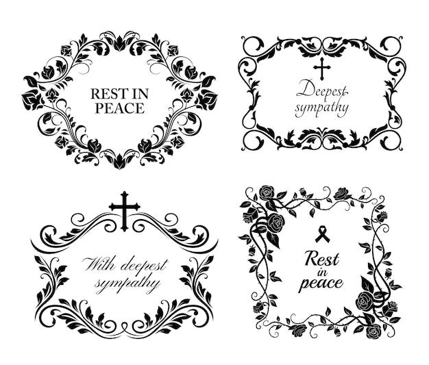 Cartões de flores fúnebres, obituário rip e condolências, molduras florais pretas. memória fúnebre e mensagem de profunda simpatia Vetor Premium