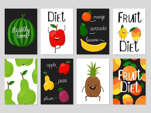 Cartões de frutas dos desenhos animados Vetor Premium
