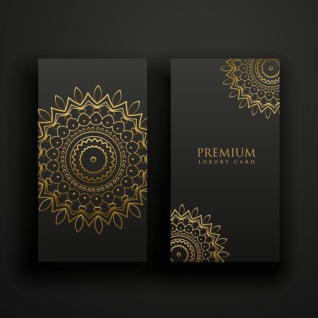 Cartões de mandala de luxo preto e dourado Vetor grátis