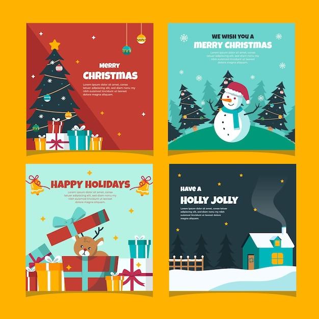 Cartões de natal coloridos desenhados à mão Vetor grátis