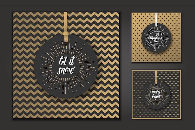 Cartões de natal com citações da moda feitas à mão Vetor Premium