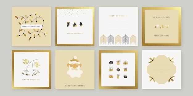 Cartões de natal dourados desenhados à mão Vetor grátis