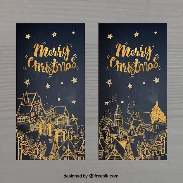 cartões de Natal dourados Vetor grátis