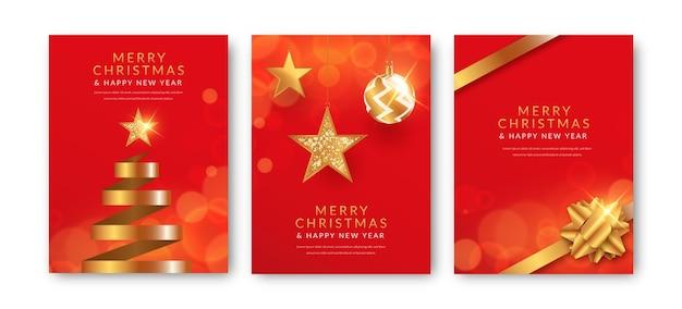 Cartões de natal vermelhos e dourados Vetor grátis