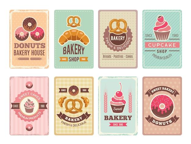 Cartões de padaria. rosquinhas de cupcakes de alimentos doces frescos e outras ilustrações de produtos de panificação para menu vintage em estilo retro Vetor Premium
