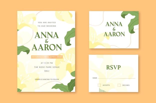 Cartões de papelaria de casamento com flores amarelas Vetor grátis