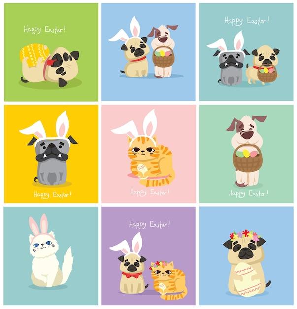 Cartões de páscoa com pessoas, cachorrinho fofo, rato, panda e gato com orelhas de coelho, flor de primavera, ovo e texto desenhado à mão Vetor Premium