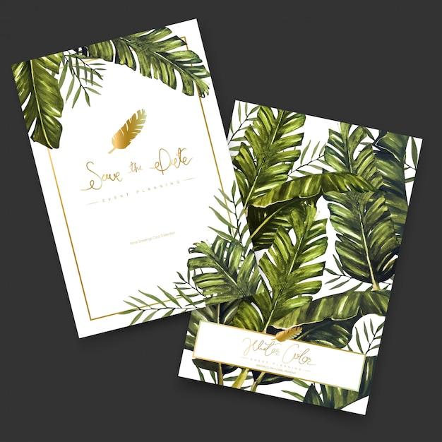 Cartões de pintura aquarela tropical. Vetor Premium
