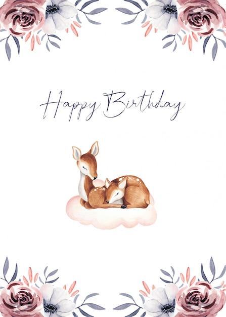 Cartões de presente de bebê fofo feliz aniversário Vetor Premium