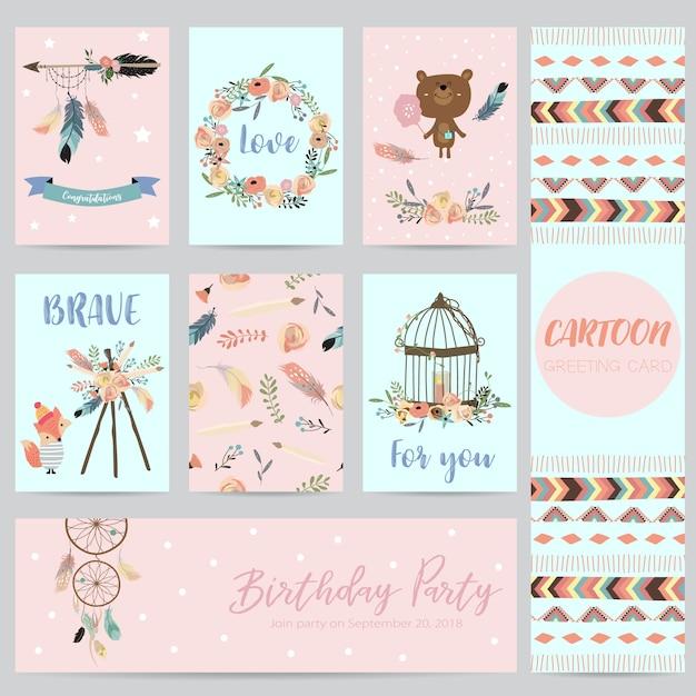 Cartões-de-rosa, azuis para banners, folhetos, cartazes com pena, urso, selvagem, grinalda e gaiola Vetor Premium