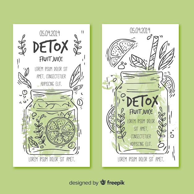 Cartões de suco de frutas de desintoxicação em aquarela Vetor grátis