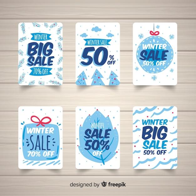 Cartões de tons frios de venda de inverno Vetor grátis