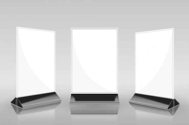 Cartões de triângulo de papel de barraca de mesa horizontal Vetor Premium