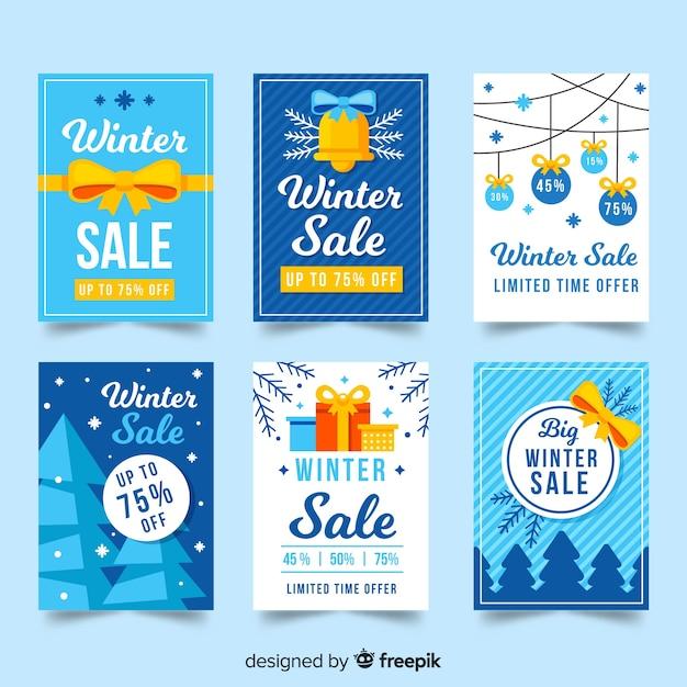 Cartões de venda de inverno Vetor grátis