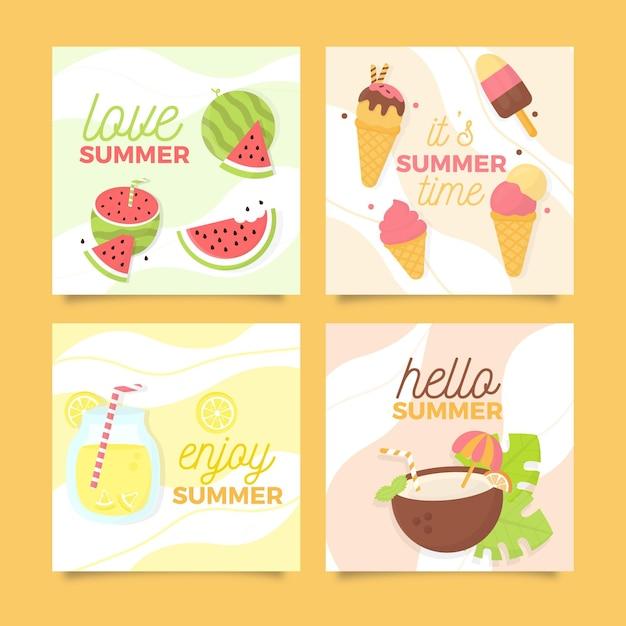 Cartões de verão de sorvete e frutas frescas Vetor grátis