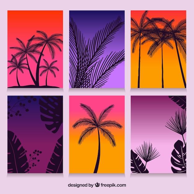 Cartões de verão gradiente com palmas de silhueta Vetor grátis