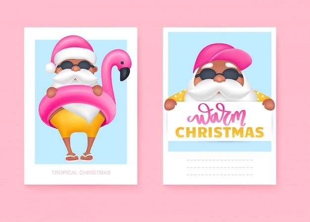 Cartões de verão papai noel. ilustração vetorial natal tropical e feliz ano novo em um design de clima quente. Vetor Premium