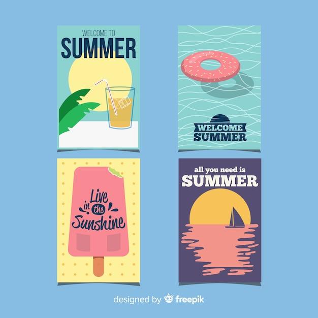Cartões de verão planos Vetor grátis