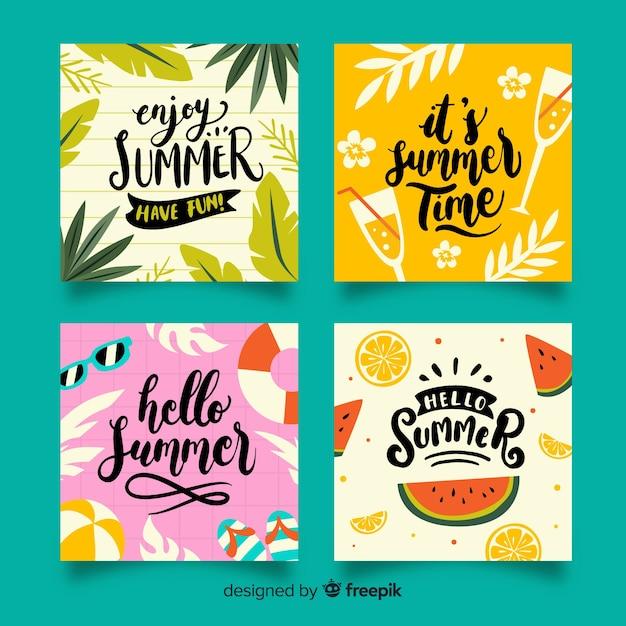 Cartões de verão Vetor grátis