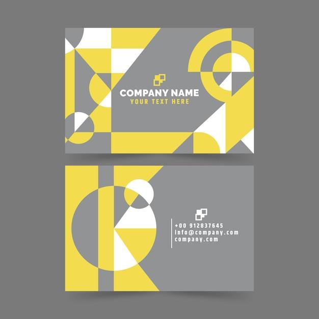 Cartões de visita abstratos amarelos e cinza Vetor grátis