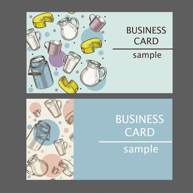 Cartões de visita com imagens de produtos lácteos Vetor Premium