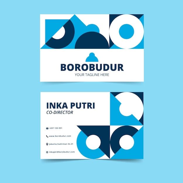 Cartões de visita criativos abstratos com formas geométricas circulares Vetor grátis