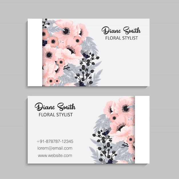 Cartões de visita de flores flores rosa Vetor grátis