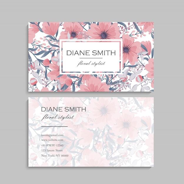 Cartões de visita flor rosa flores Vetor grátis