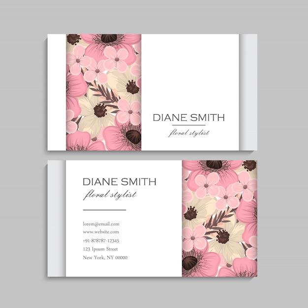 Cartões de visita flor rosa flores Vetor Premium