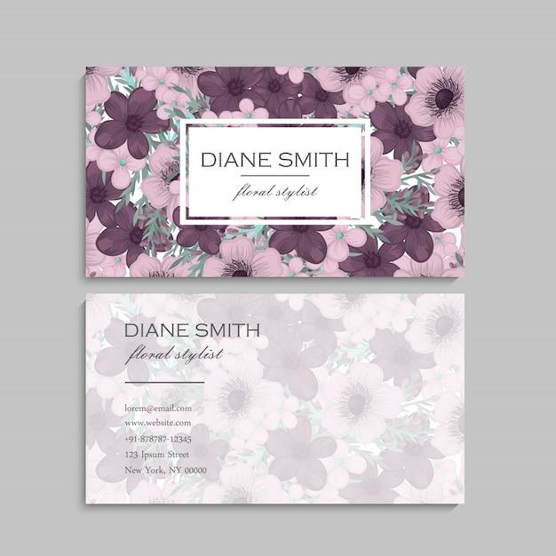 Cartões de visita flores roxas Vetor Premium