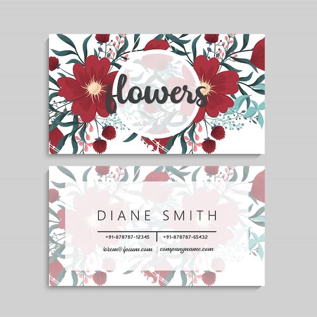 Cartões de visita modelo flores vermelhas Vetor grátis