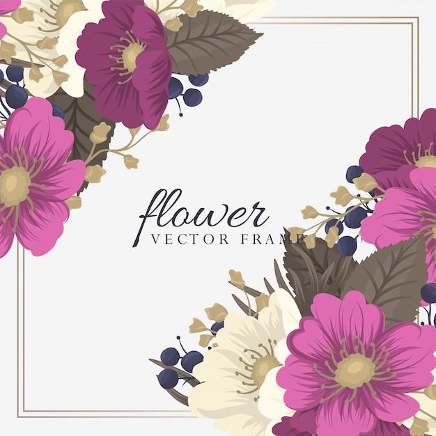 Cartões de visita modelo rosa mão desenhadas flores Vetor grátis