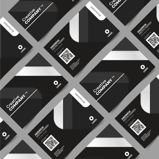 Cartões de visita monocromáticos Vetor grátis
