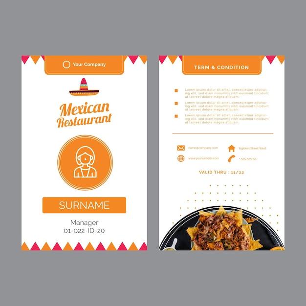 Cartões de visita para restaurante mexicano Vetor grátis