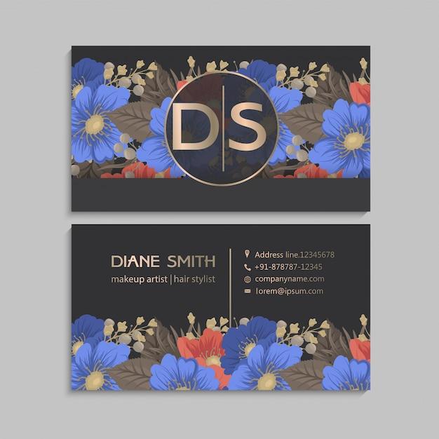 Cartões de visitas da flor azuis e fundo vermelho Vetor grátis