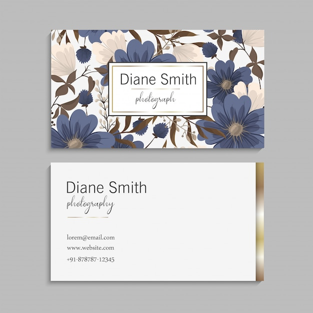 Cartões de visitas da flor azuis Vetor grátis