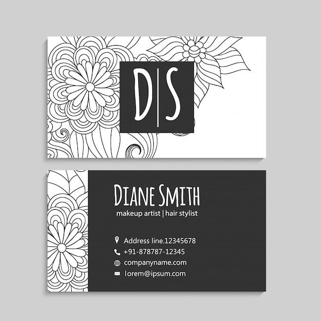 Cartões de visitas da flor brancos e pretos Vetor grátis