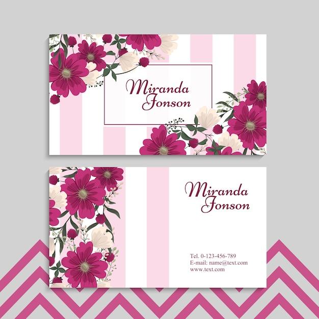 Cartões de visitas da flor flores do rosa quente Vetor grátis