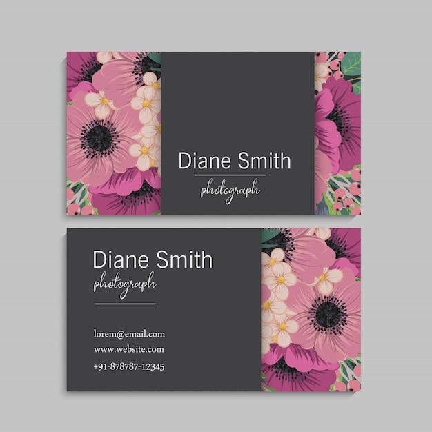 Cartões de visitas da flor flores do rosa quente Vetor Premium