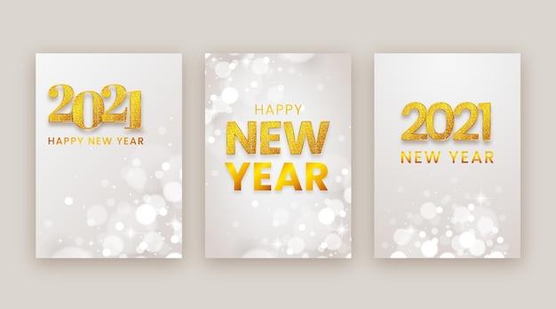 Cartões desfocados de ano novo de 2021 Vetor grátis