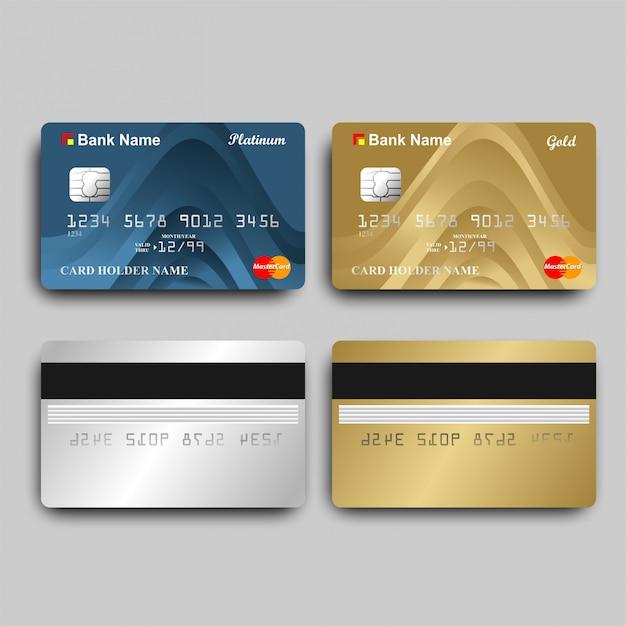 Cartões do ouro e do platinum atm Vetor Premium