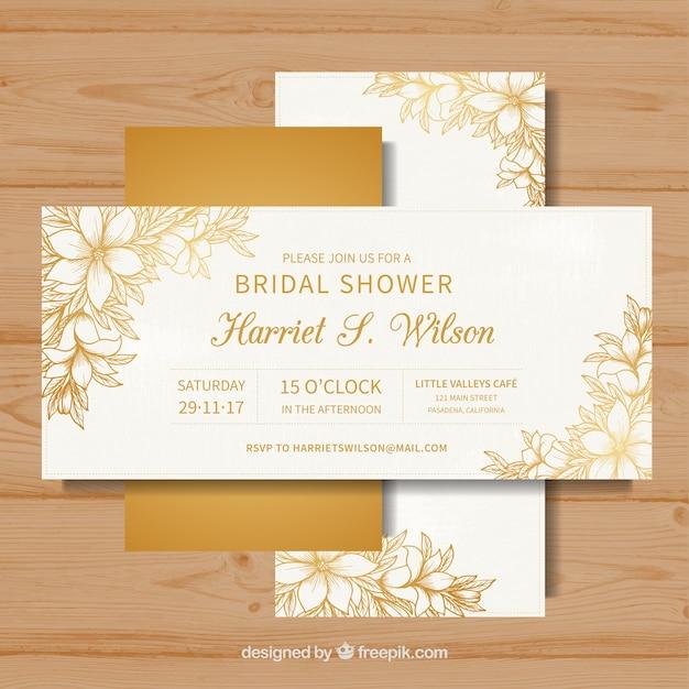 Cartões dourados de despedida de solteira Vetor grátis