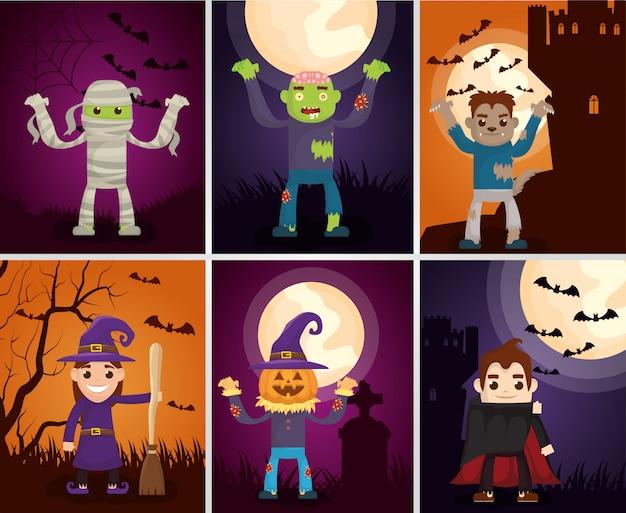 Cartões escuros de halloween com personagens de monstros Vetor grátis