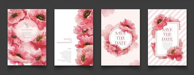 Cartões florais cor-de-rosa da pintura da aguarela. Vetor Premium