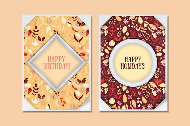 Cartões florais do doodle bonito do vintage ajustados. colecção para férias especiais. o cartão ou salvar a data ou o feliz aniversario com flores coloridas. ilustração vetorial Vetor Premium