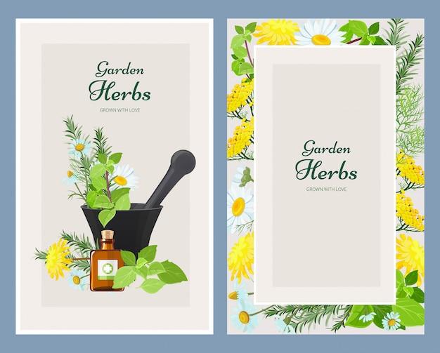 Cartões florais, produtos de ervas medicinais ervas selvagens e flores vintage Vetor Premium